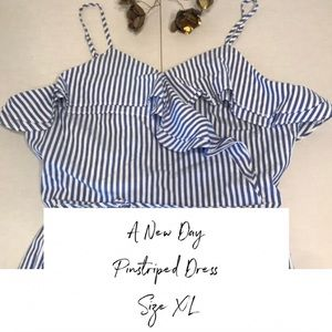 A New Day Ruffled Pinstripe Dress